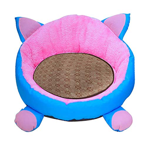 Aoile Cute Pet Mat Dual Purpose Detachable Washable Pet Bed Soft Warm Kennel for Small Pets Supplies (Blue and pinkM)