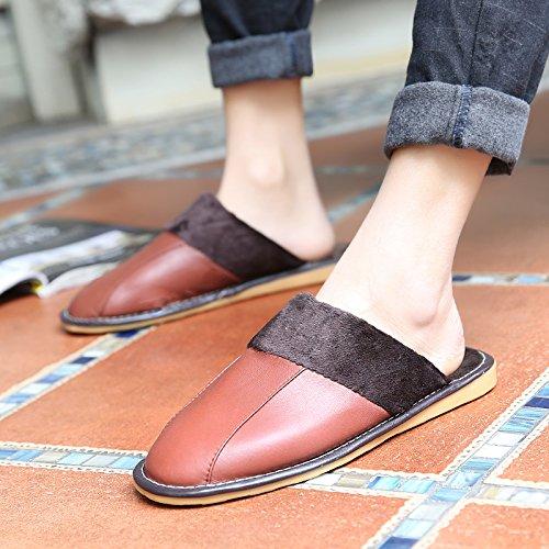 Soggiorno fankou Autunno Inverno cotone pantofole indoor uomini e donne coppie home pavimenti in legno caldo e pantofole inverno gancio ,41-42, rosso marrone ()