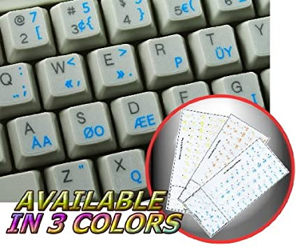 528740f62f9 Amazon.com: PROGRAMMER DVORAK KEYBOARD STICKERS WITH BLUE LETTERING ON  TRANSPARENT BACKGROUND: Office Products