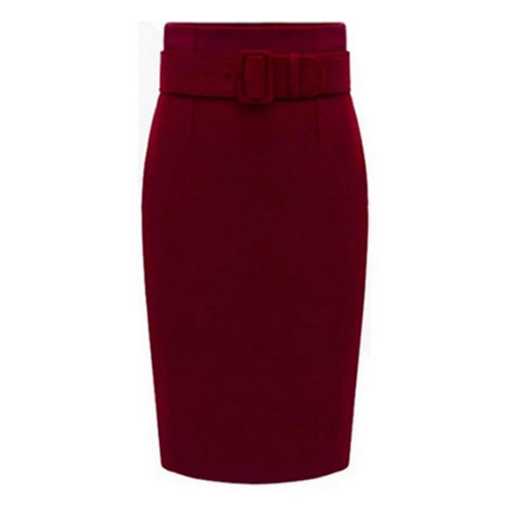 Caracilia Petite High Waisted Classic Belted Knee Length Wear to Work Pencil Skirt c9a5c171