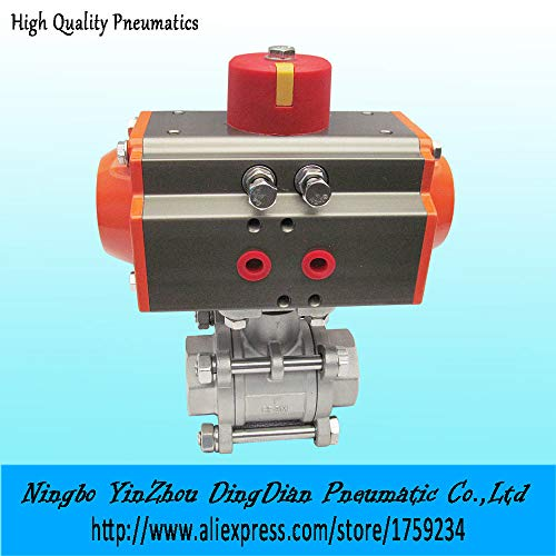 Fincos DN32 3 - Pieces Type Stainless Steel 304 Double Acting air actuated Ball Valve Model - 3 Piece Actuated Air
