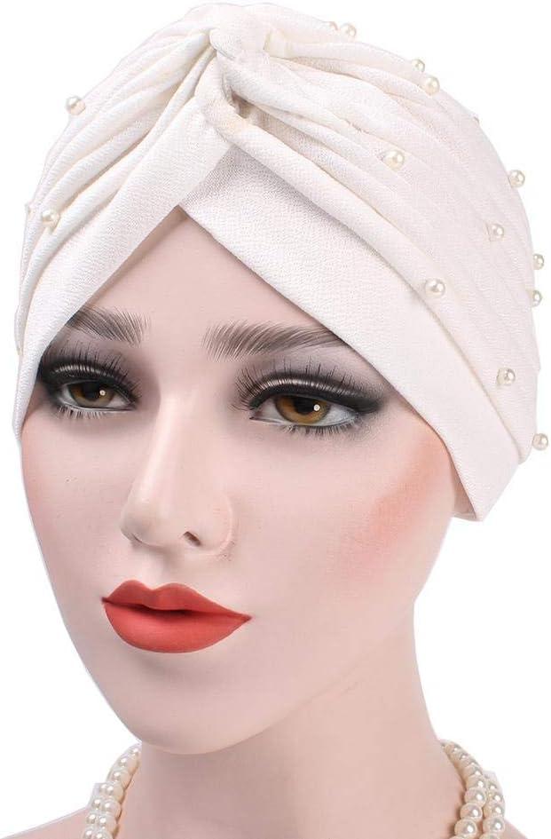 Turban Headgear Summer - Gorra de verano para mujer, con perlas de concierto y turbante, Blanco