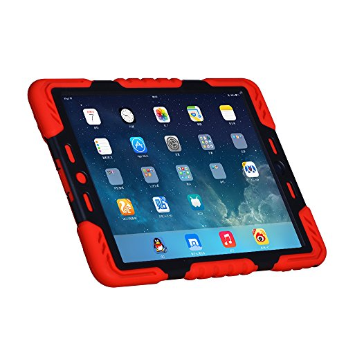 Hot Newest Pepkoo Ipad 6 / Ipad Air 2 Case Silicone Plastic Kid Proof Extreme Duty Dual Protective Back Cover with Kickstand for Ipad 6 / Ipad Air 2 - Rainproof Sandproof Dust-proof Shockproof (Red/Black)