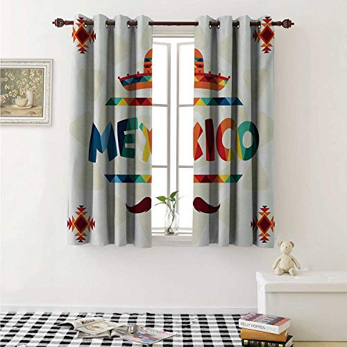 shenglv Mexican Blackout Draperies for Bedroom Mexico Traditional Aztec Motifs and Sombrero Straw Hat and Moustache Graphic Print Curtains Kitchen Valance W72 x L63 Inch Multicolor
