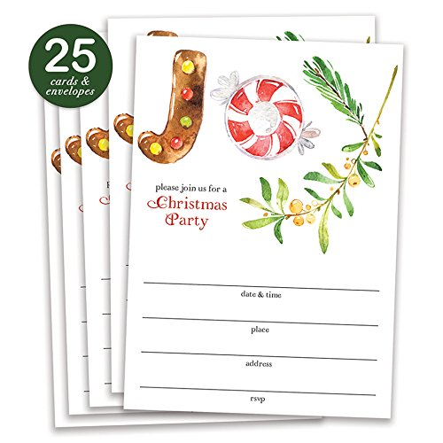 Joy Christmas Party Invitations with Envelopes ( Pack of 25 ) Simple Large Blank 5x7