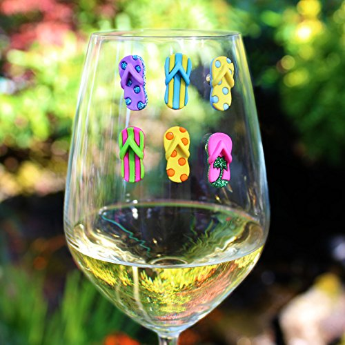 DESIGNER FLOPS Magnetic Wine Glass Charms (Set of 6) by Claim Your Glass - Premium Drink Markers for Wine, Champagne, Beer, Cocktail Glasses - Includes Storage Case + Spare Magnet by Claim Your Glass (Image #4)