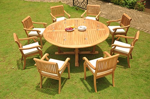 Grade-A Teak Wood Dining Set 8 Seater 9 Pc: 72' Round Dining Table And 8 Arbor Stacking Arm / Captain Chairs #WFDSAB62