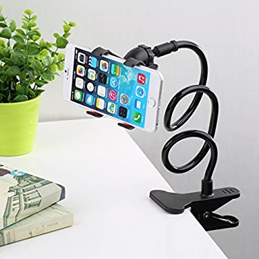 SQDeal Universal Long Arm Lazy Mobile Phone Gooseneck Stand Holder Stents Flexible Bed Desk Table Clip Bracket Cradle for iphone Smasung HTC LG Sony Nokia etc. Smartphones(Black)