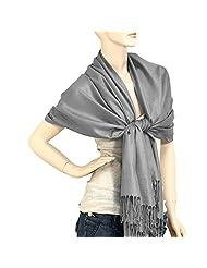 "Falari Women's Solid Color Pashmina Shawl Wrap Scarf 80"" X 27"" (Dark Grey)"