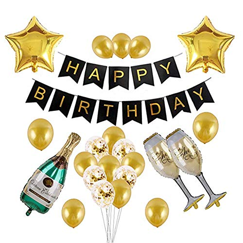 Black and Gold Party Decorations Happy Birthday Banner Champagne Bottle and Cups Golden Stars Confetti and Gold -