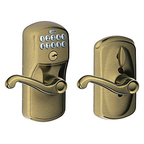- Schlage FE595 V PLY 609 FLA Plymouth Keypad Entry with Flex-Lock and Flair Style Levers, Antique Brass