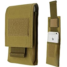 """LefRight Tactical Molle Vertical Waist Belt Large Pouch Bag Holster Cover with Pull Tab for 5.5"""" iPhone (Khaki)"""