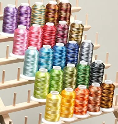 ThreadNanny LARGE 25 Cones Variegated Colors Polyester Machine Embroidery Machine Thread for Brother Babylock Janome Singer Pfaff Husqvarna Bernina Machines from Manki Trading LLC