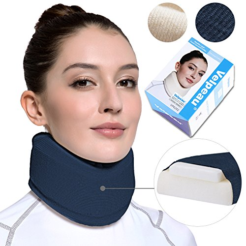 Neck Brace - Soft Cervical Collar - Double Layer Composite Moderate Support for Vertebrae for Neck Pain - Can Be Used During Sleeping, Travel, Airplane, Working (Blue,Large) by Velpeau