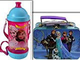 Adorable Disney Frozen Lunchtime, Dining, & Back to School Bundle: 2 Items- BPA Free Sip-N-Snack Canteen & Mini 3D Frozen Tin Box 63 Piece Puzzle Set