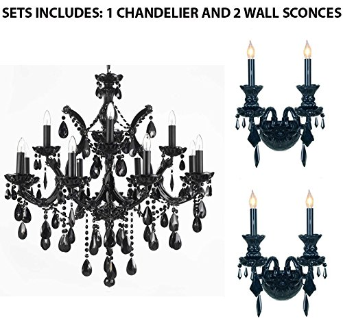 (Set of 3-1 Jet Black Chandelier Crystal Lighting 30X28 and 2 Jet Black Gothic Venetian Style Crystal Wall Sconce Lighting!)