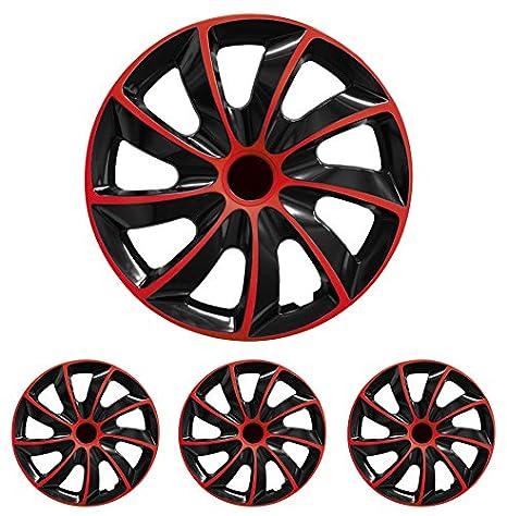 Tapacubos - Tapacubos Tapacubos QUAD Rojo 13 pulgadas 13? R13 universal apto para casi todos los vehículos estándar con llantas de acero por ejemplo Skoda: ...