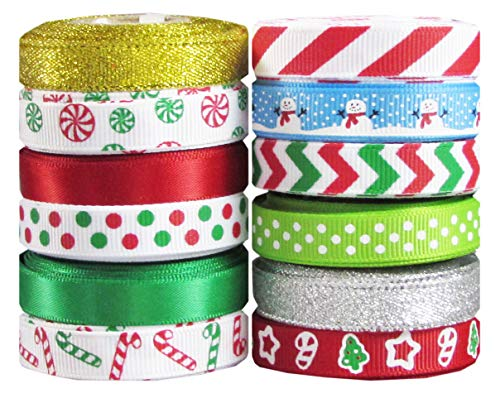 Q-YO Holiday Grosgrain Ribbon Set for Gift Package Wrapping, Hair Bow Clip Accessory Making, Crafting, Wedding Decor. (60yd(12x5yd) 3/8