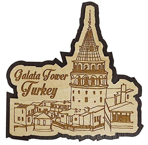 - Printtoo Wooden Souvenir Galata Tower Turkey Engraved Fridge Magnet Gift