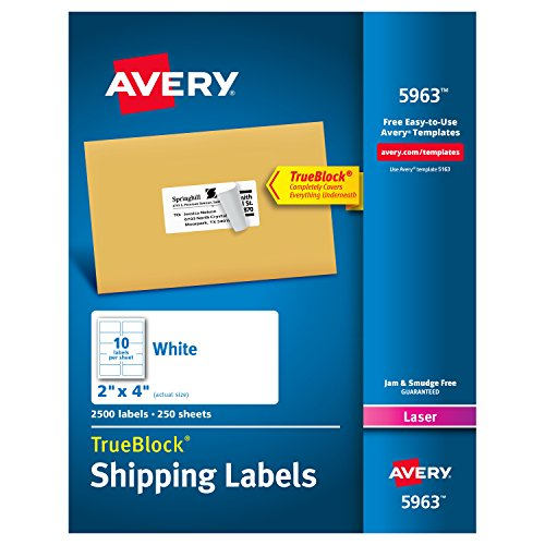 Free Address Label Maker - Avery Shipping Address Labels, Laser Printers, 2,500 Labels, 2x4 Labels, Permanent Adhesive, TrueBlock (5963)