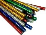 COLOR Glitter Hot Melt Mini Glue Sticks - Pack of 50 (blue, red, green, silver, gold)