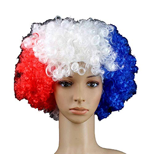 Wigs Football Fans Party Headwear Carnival Props Christmas Halloween Clown Hat Curls,France