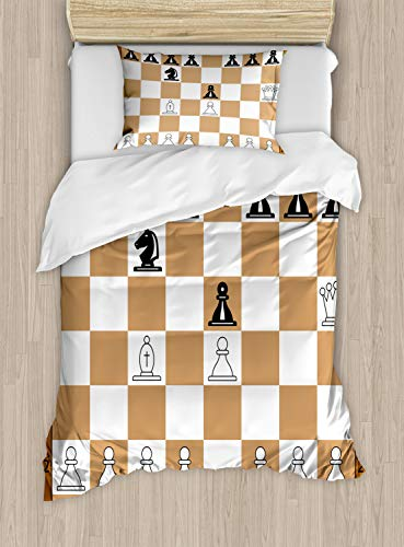 Ambesonne Board Game Duvet Cover Set Twin Size, Opening Position on Chessboard Letters Numbers Squares Pieces Print, Decorative 2 Piece Bedding Set with 1 Pillow Sham, Brown Pale Brown Black