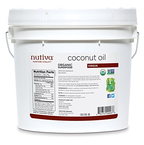 Nutiva Organic, Cold-Pressed, Unrefined, Virgin Coconut Oil from Fresh, non-GMO, Sustainably Farmed Coconuts, 1 Gallon (8 Pound Tub)
