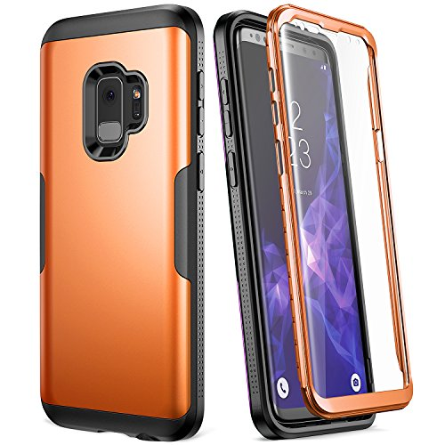 Galaxy S9 Case, YOUMAKER Metallic Orange with Built-in Screen Protector Heavy Duty Protection Shockproof Slim Fit Full Body Case Cover for Samsung Galaxy S9 5.8 inch (2018) - Orange/Black (Bright Orange Glass)