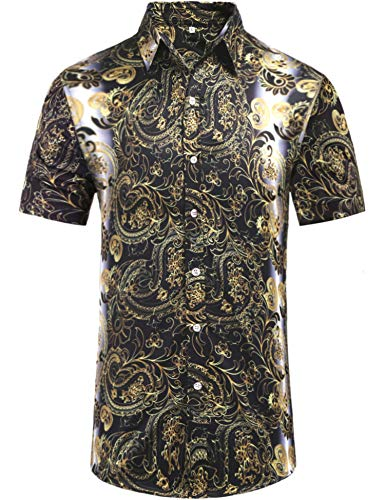 Daupanzees Mens Paisley Short Sleeve Cotton Luxury Design Shows Skinny Hawaiian Tropical Party Daily Life Allover Print Dress Shirt (Gold S) (Western Show Shirts Men)