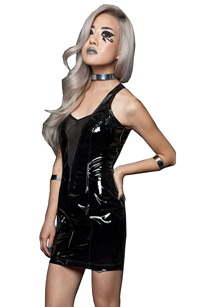 98caadc746 Lip Service Gothic Rocker Fetish Wet Look Glossy PVC Vinyl Black Dress