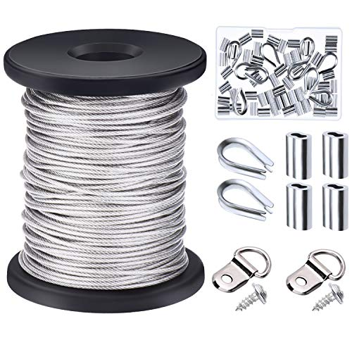 (Canomo 1/16 inch x 98 Feet (1.5mm x 30m) Vinyl Coated Stainless Steel Picture Hanging Wire Rope Cable with 50 Pieces Aluminum Crimping Sleeves, 10 Pieces Thimble and 20 Pieces D-Ring Hangers)