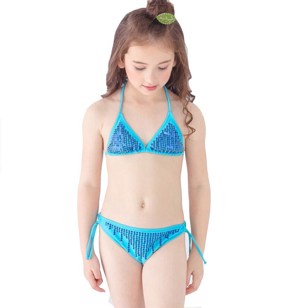 Malloom Traje de baño niña Dos Piezas Traje de baño niña Bebe Bikini con Lentejuelas Bandolera triángulo Dividido Bikini: Amazon.es: Ropa y accesorios