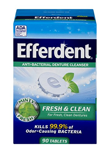 Denture Cleanser Plus Efferdent Tablets (Efferdent Plus Mint Anti-Bacterial Denture Cleanser | 90 tablets | Actively Cleans Between Dentures | Packaging May Vary)