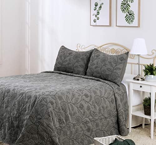 Elegant Life Reversible Cotton Vintage Embroidered Bedding Quilt - Queen Size 90'' x 95'', Gray