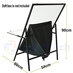 Foto&Tech Portable Non-Reflective Still Life Shooting Metal Frame Foldable Table with 58cm x 98cm Pure White Plexiglass Panel Cover Photo Studio Bench Easy Set Up without tools