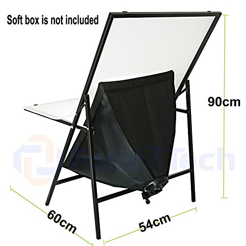 Foto&Tech Portable Non-Reflective Still Life Shooting Metal Frame Foldable Table with 58cm x 98cm Pure White Plexiglass Panel Cover Photo Studio Bench Easy Set Up without tools by Foto&Tech (Image #4)