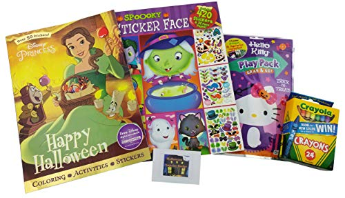 Halloween Coloring Book Package with Stickers, Play Scenes and Cryon - Bundle Gift for Girls | 5 Items