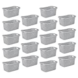 STERILITE Cement Gray Durable Weave Laundry Basket with Wicker Pattern (18 Pack)