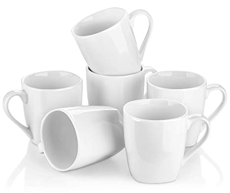 Mouth Yhy White Mugs Oz For Coffee Mugs10 Porcelain CappuccinoTeaCocoaSet Y 6Rounded Square Of 8N0vwmn