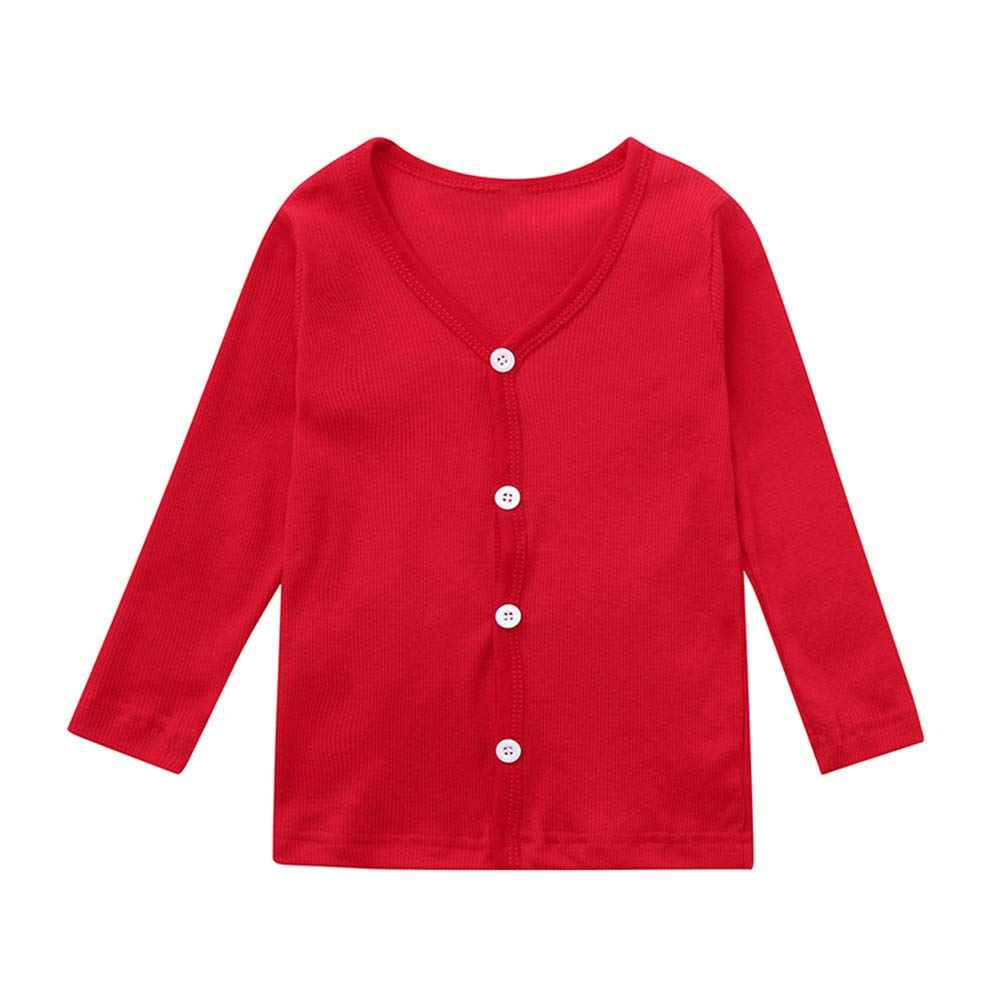 Outtop(TM) Baby Boys Girl Knitted Sweater Toddler Kids Solid Knit Undershirt Botton Cardigan Coats Tops Clothes Outfit