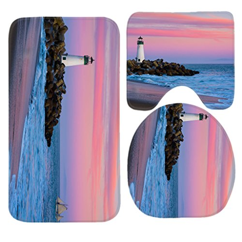 White Lighthouse Pink Could Sky Bath Mat Set,3 Piece Bathroom Mats Set Non-Slip Bathroom Rugs/Contour Mat/Toilet Cover by TEYAYA