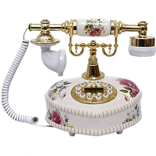 BeiMi Antique Phone/Korean Ceramic Antique Telephone Ceramic Button/Heart-to-Heart Craft Solid Phone Landline Home Office Decoration - White from BeiMi