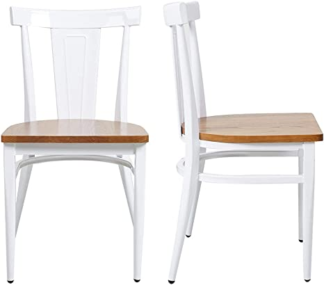 Amazon Com Dining Room Chairs Set Of 2 Wood Seat And Metal Leg Heavy Duty Modern Side Chairs For Kitchen Restaurant Cafe Ergonomic Design White Chairs