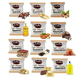 Caffè Vulcanus - Kit assaggio 120 cialde compostabili ESE44 di caffè aromatizzati - Degustazione di 12 gusti di caffè…