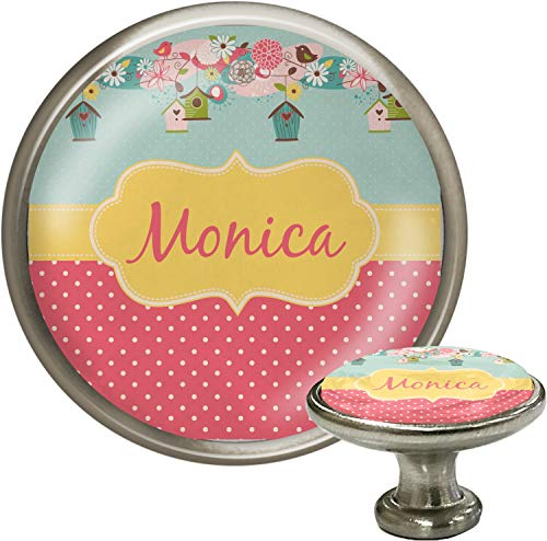 Birdhouse Cabinet Knob - Easter Birdhouses Cabinet Knob (Silver) (Personalized)