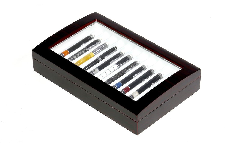 Aufbewahrungsbox fÜr Stifte - aus Holz mit Blickfenster - Schatulle-Etui fÜr 12 Stifte - mit Mahagoni-Lackierung