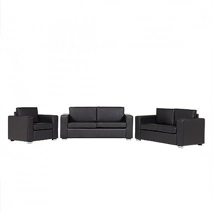 Conjunto de sofá Negro - sofá de Piel - 6 Asientos - 2 sofás ...