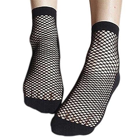 Sasairy Womens 5 Pairs Fishnet Socks Ankle High Sock Durable Anklets Sox Net Hose Black (Ankle High Hose)