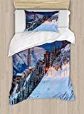 Ambesonne Winter Duvet Cover Set Twin Size, Majestic Winter Sunrise Landscape and Ski Resort Spruce Pine Forest French Alps, Decorative 2 Piece Bedding Set with 1 Pillow Sham,